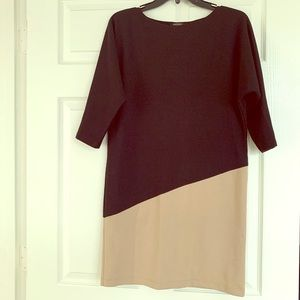 Black & Taupe Colorblock Slip On Dress